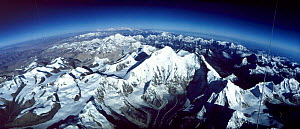 Aerial of Mt Everest from Tibet looking to Nepal. Kungchung face Himalayas. From hot air balloon  -  Leo & Mandy Dickinson