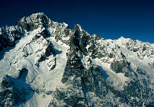 Mont Blanc and south ridge of the Noire, French Alps, Europe  -  Leo & Mandy Dickinson