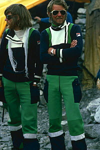Reinhold Messner and Peter Habeler before Everest ascent without oxygen, the first people to do so, 1978.  -  Leo & Mandy Dickinson