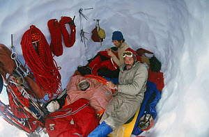 Eric Jones and Rick Sylvester in an ice cave, Patagonia, Argentina, 1972  -  Leo & Mandy Dickinson