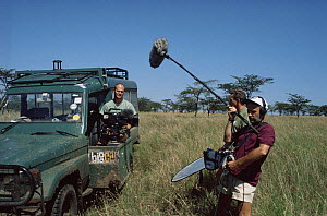Simon King and  film crew on Big Cat Diary. Kenya 1997  -  Alastair Fothergill