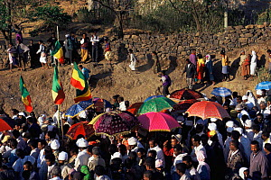 Priest's colourful umbrellas at Gondor Timket festival, Ethiopia - Julia Bayne