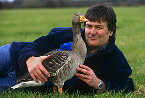"""Producer John Downer with Goose, fitted with specially adapted video camera 'goosecam' for filming during flight. BBC series """"Supernatural"""", 1999  -  John Downer"""