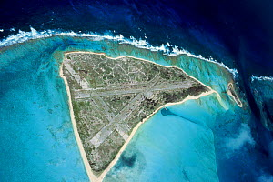 Eastern Island, Midway Islands, Pacific ocean. Showing runways used in World War II.  -  Michael Pitts