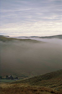 Looking down into Elan valley, covered by mist in Autumn, Mid Wales, UK  -  Jim Hallett