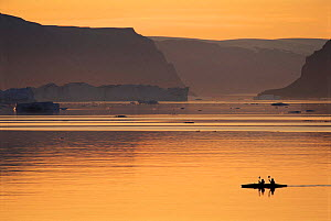 Kayakers, with icebergs in background - ecotourism. Qaanaaq, NW Greenland. - Staffan Widstrand