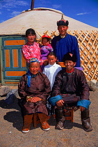 Family group portrait outside their yurt (home), Gobi Desert, Mongolia.  -  Gertrud & Helmut Denzau