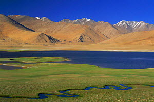 Mountain landscape with lake and meandering river tributary, Ladakh, North East India - Gertrud & Helmut Denzau