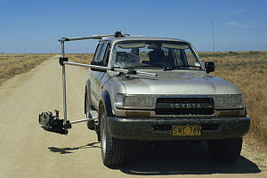 Camera mounted on car for filming locust outbreak for BBC television series Alien Empire, Ivanhoe, Australia. 1994  -  Rupert Barrington