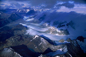 Aerial view of snow capped mountains, Torres del Paine NP, Chile  -  Robert Fulton