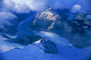 Aerial view of melting glacier in mountains, Peru - Robert Fulton