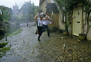 Raining fish - a reconstruction for BBC TV series 'Supernatural' (1999). It is thought that naturally occuring events are caused by fish being lifted by rotating winds, such as tornadoes, dust devils... - John Downer