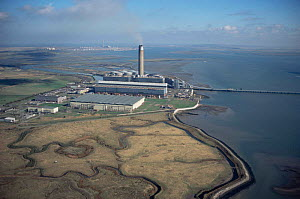 Aerial view of Kingsnorth coal fired power station and Hoo flats, Medway estuary, Kent, UK - Chris Gomersall