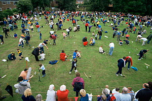 World Worm Charming Championships, Cheshire, UK, stamping on the ground attracts the worms to the surface - Conrad Maufe