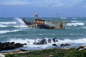Waves breaking over shipwreck, Cape Angulus, South Africa  -  Richard Du Toit
