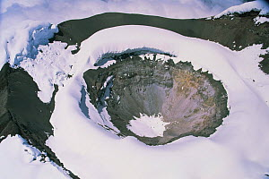 Aerial view of Cotopaxi volcano crater covered in snow, Ecuador, South America, 2000  -  Robert Fulton