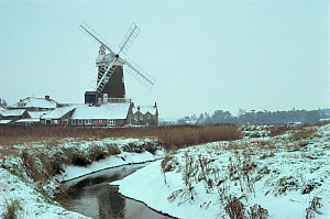 Cley windmill and marshes in snow, Norfolk, UK - Martin H Smith