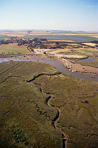 Aerial view of salt marsh and boating yard, Morston, Norfolk, UK - Martin H Smith