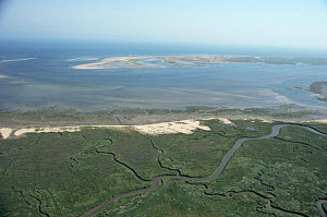 Aerial view of salt marsh and Blakeney point. Norfolk, UK - Martin H Smith
