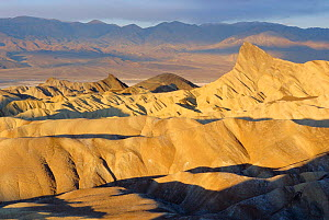 Zabriskie point with Panmint mountains behind, Badlands, Death Valley NP, California, USA  -  Doug Wechsler