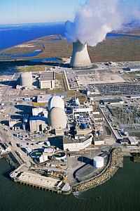 Aerial view of Salem nuclear power plant built on saltmarsh, Delaware Bay, New Jersey, USA - Doug Wechsler