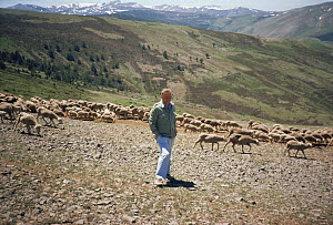 "David Attenborough on location in Spain on location for ""First Eden"" 1986 Sheep translocation  -  Diana Richards Cronk"
