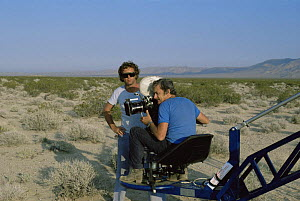 "Cameraman Martin Saunders with Geoff Pearce filming in Mojave desert for BBC ""Living Planet: Deserts"" 1982  -  Diana Richards Cronk"