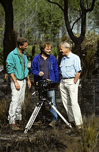 Neil Lucas, Richard Kirby and Sir David Attenborough on location filming for BBC television series ^Private Life of Plants^, Australia, early 1990s  -  Neil Lucas