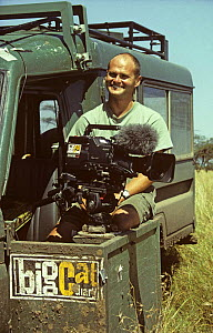 Simon King on location filming for BBC series ^Big Cat Diary^. Kenya, 1996  -  Alastair Fothergill