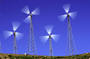 Wind generators on wind farm, Spain  -  John Cancalosi