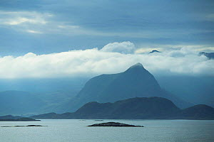 View to Vestvagoy Island in clouds, Lofot Islands, Norway, Europe  -  Christoph Becker