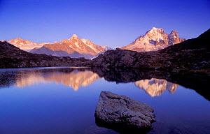 Aiguille d'Atgentierre reflected in Lac de Chesery, nr Chamonix, Savoie, France  -  David Noton