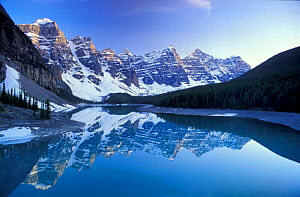 Reflections of the Rocky Mountains in Morraine Lake, Banff NP Alberta Canada, North America - David Noton
