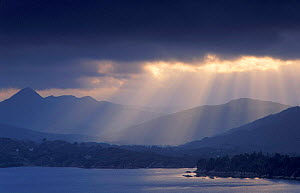 Dark clouds with shafts of sunlight hitting the water, Bantry Bay, South Ireland  -  David Noton
