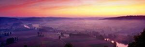 Panoramic of Dordogne Valley taken at dawn from Domme, France  -  David Noton