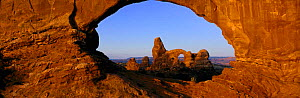 Turret Arch seen through Window Arch, Arches National Park, Utah, USA, North America - David Noton