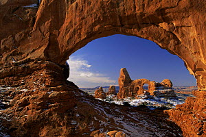 Turret Arch as seen through Window Arch in winter, Arches National Park, Utah, USA - David Welling