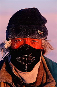 Nature Picture Library photographer Pete Oxford at -40 C Darkhad depression, Mongolia - icicles forming on eyelashes and hair 2002  -  Pete Oxford