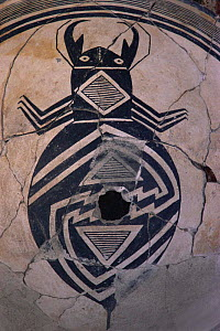 Mimbres bowl detail of beetle 900-1150 AD, museum, Taos Pueblo, New Mexico, USA 1990  -  John Cancalosi