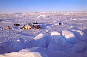 Inuit camp on spring sea ice, Admiralty Inlet, Baffin Island, Canadian Arctic, NW Territories - Doug Allan