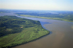 Aerial view of Parana river, before dam construction, Argentina / Paraguay border, South America  -  Ross Couper-Johnston