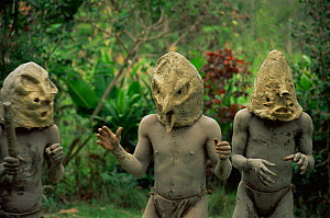 "Dance of the Asaro ""madman"" mask and mud, Central Higlands, Papua New Guinea, 1991 - Phil Chapman"