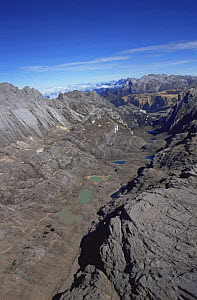 Aerial view of Mount Jaya glacial valleys, Irian Jaya / West Papua, Papua New Guinea 1991 (West Papua).  -  NEIL NIGHTINGALE