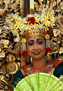 Portrait of female Legong dancer in traditional costume, Bali, Indonesia. Model released  -  Gavin Hellier
