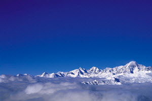 N-22005 Mont Blanc rising above clouds, The Alps, Italy.  -  Aflo
