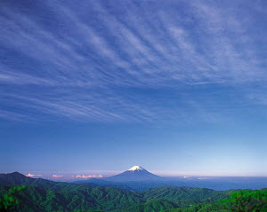 Y-6901 Mount Fuji in distance, Honshu, Japan. - Aflo