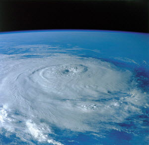 Y-11806 View from Space of eye of Hurricane above Earth  -  Aflo