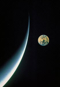 Y-11404 View of Planet Earth above Moon  -  Aflo