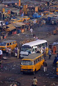 Buses and other vehicles in the Bidonville slums of Lagos, Nigeria. 2002 - Fabio Liverani