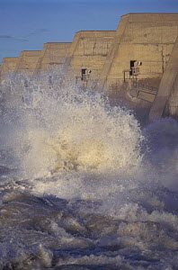 Water released from dam across Rhone river, Villabregues, Provence, France  -  Jean E. Roche